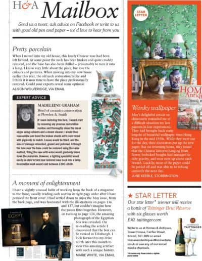 Homes & Antiques magazine - Mailbox ceramic restoration query
