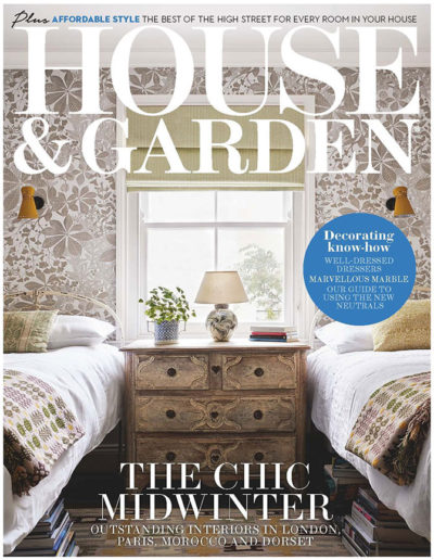 House & Garden magazine front cover of guest bedroom with twin beds