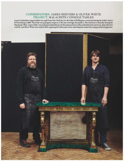 House & Garden feature on Plowden & Smith furniture restoration - restoring a pair of antique console tables