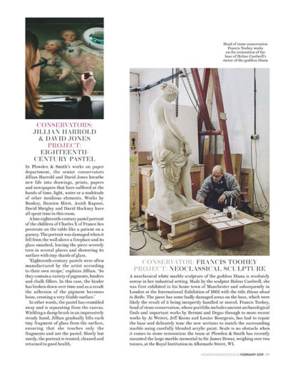 House & Garden magazine feature on Plowden & Smith - sculpture restoration