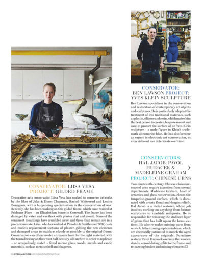 House & Garden feature on Plowden & Smith art restoration - gilt picture frame and yves klein
