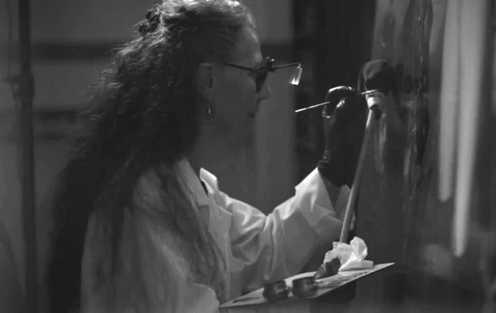 a still of Plowden & Smith painting restorer from Christie's Classic Week Film