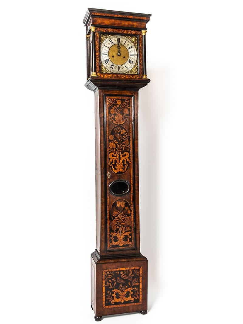a longcase clock after furniture restoration treatment in the Plowden & Smith furniture restoration studio