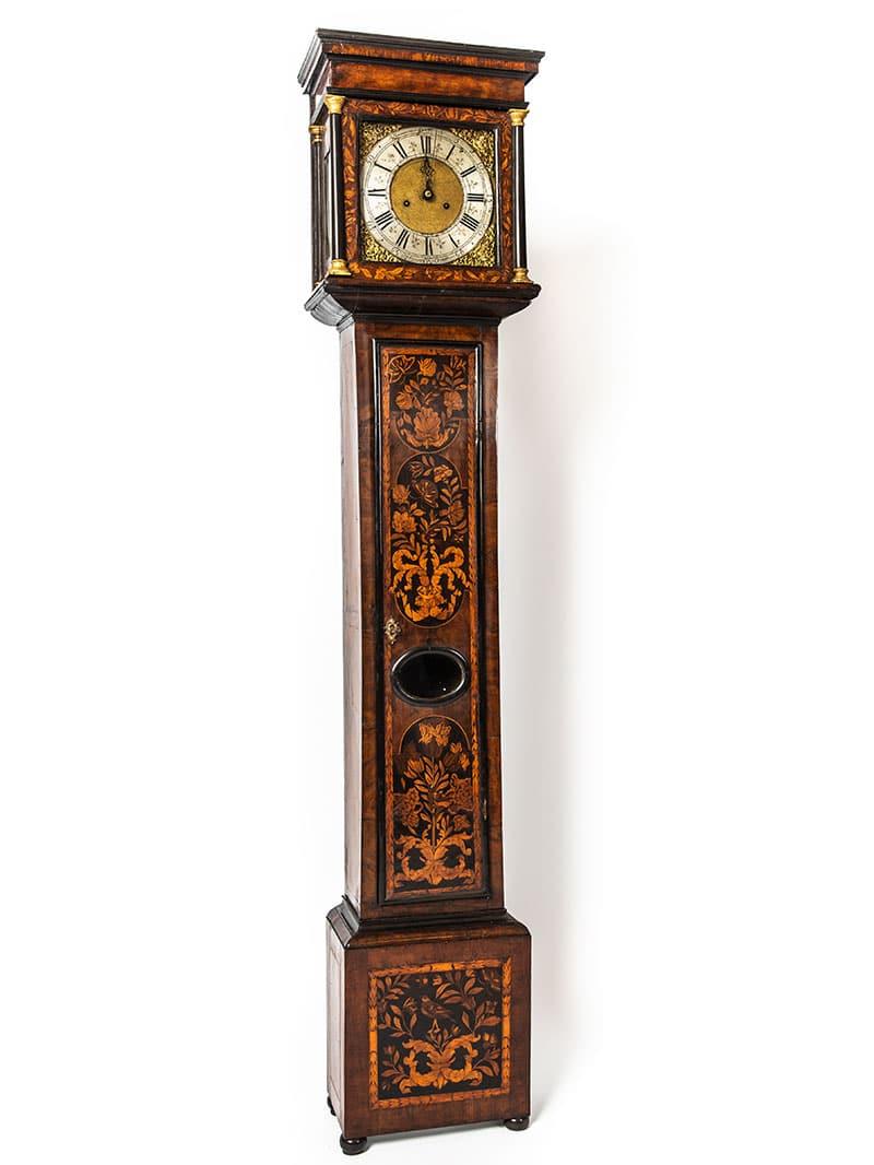 a longcase clock after furniture restoration treatment in the Plowden & Smith furniture restoration studio