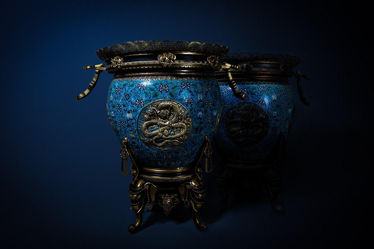 bronze cloisonnee urns
