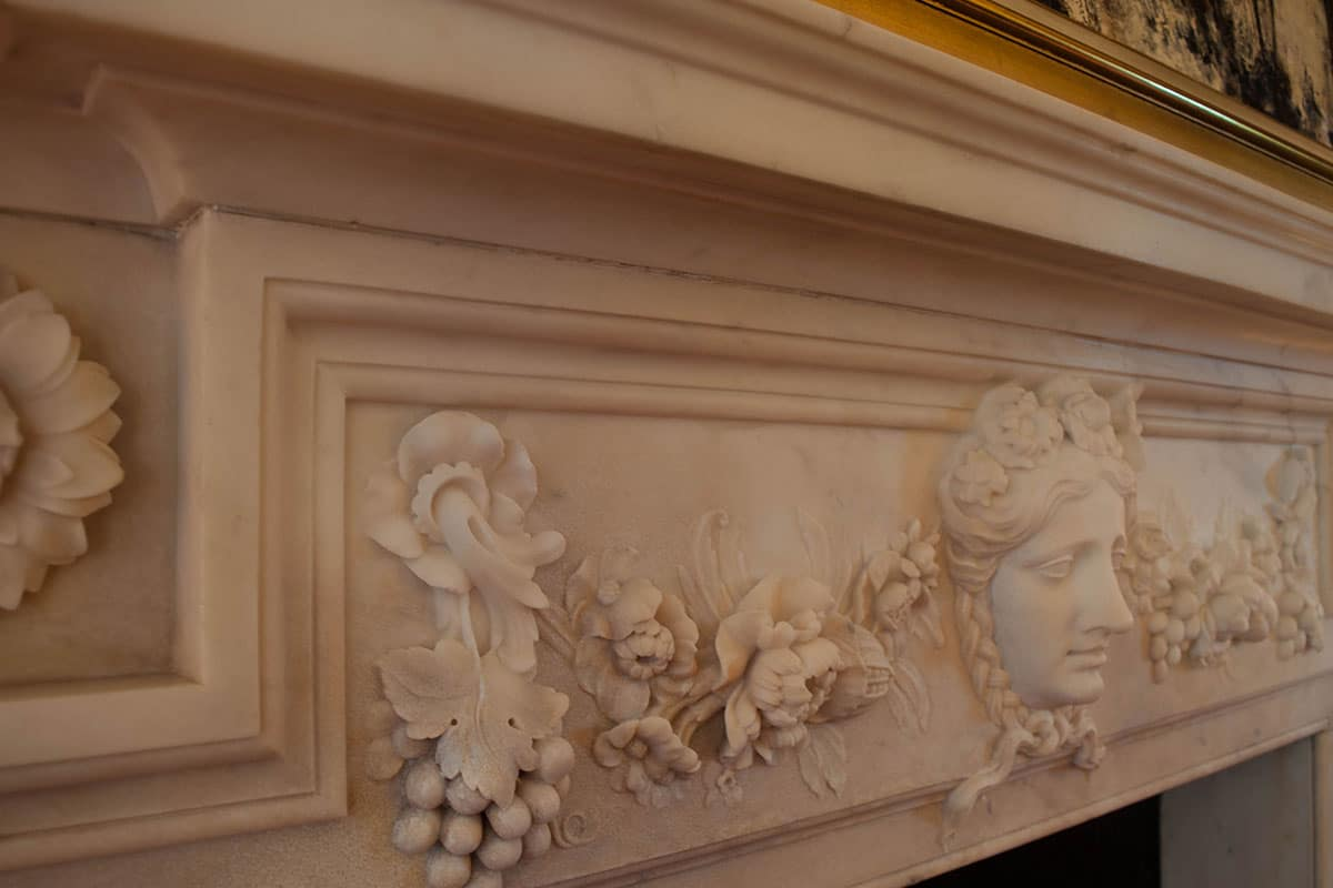 smoke damaged 18th century henry flitcroft marble fireplace after marble restoration treatment