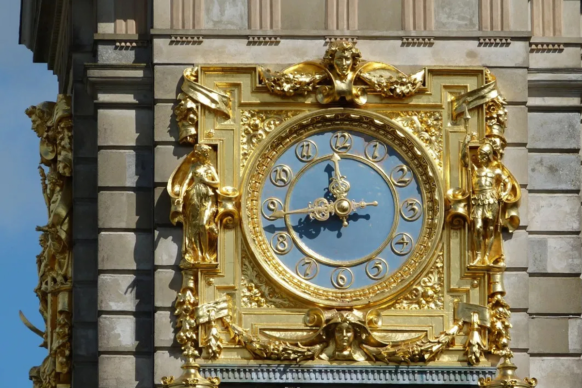 gilded clock tower at Cliveden House