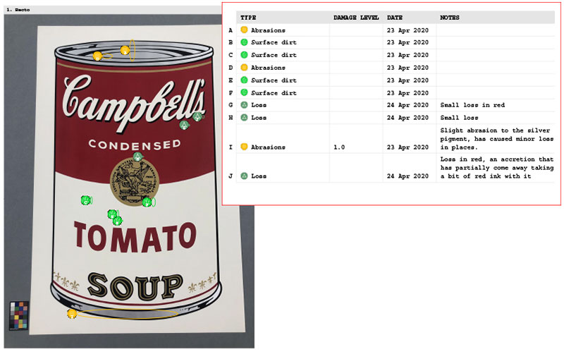 Fine art condition report detail of a Warhol artwork condition reported by Plowden & Smith