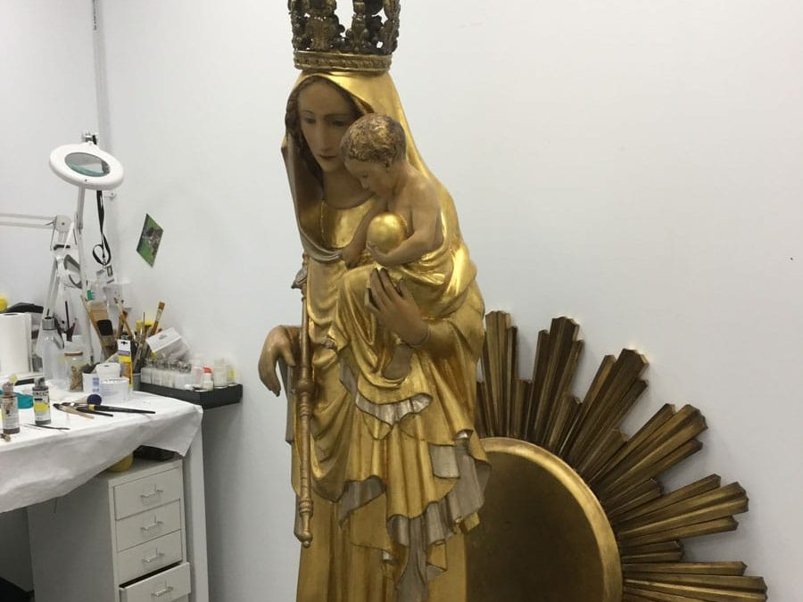 gilded statue after restoration and gilding treatment at Plowden & Smith
