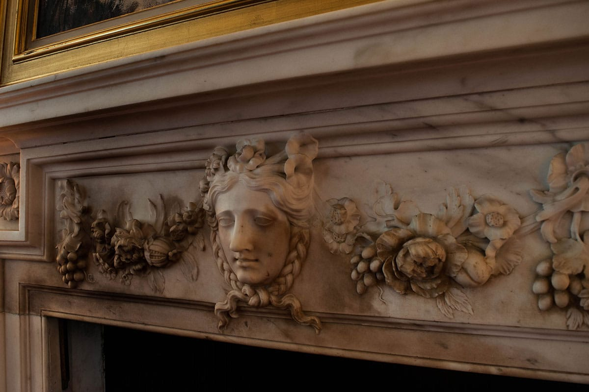 smoke damaged 18th century henry flitcroft marble fireplace awaiting marble restoration treatment